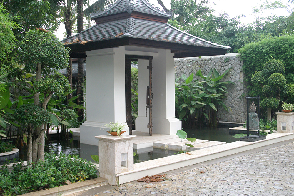 entrance gate with koi pond