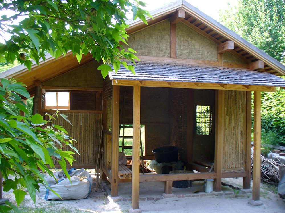 Bau des Teehauses in Bartschendorf