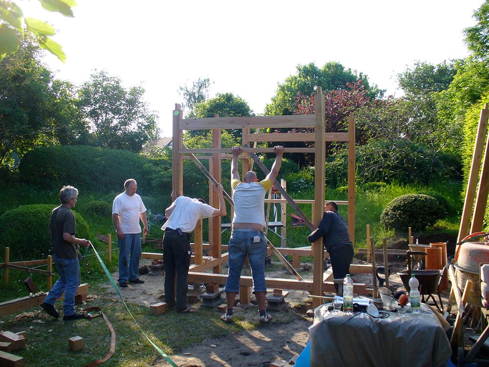Teehaus - Aufbau der Grundkonstruktion