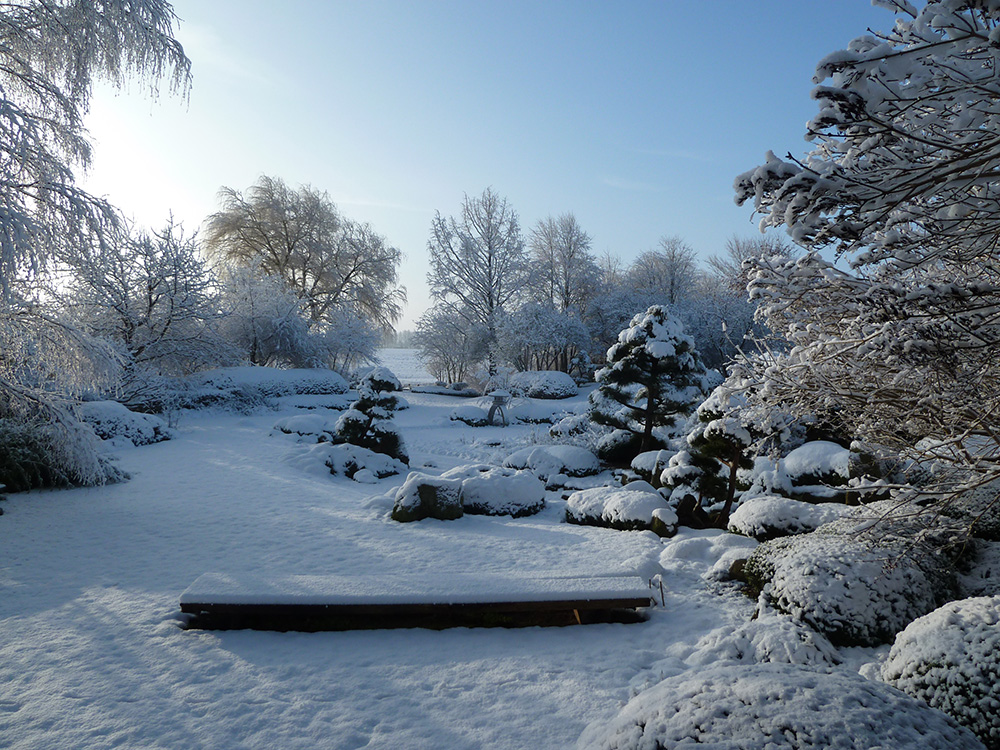 japanischer Garten in Bartschendorf im Winter